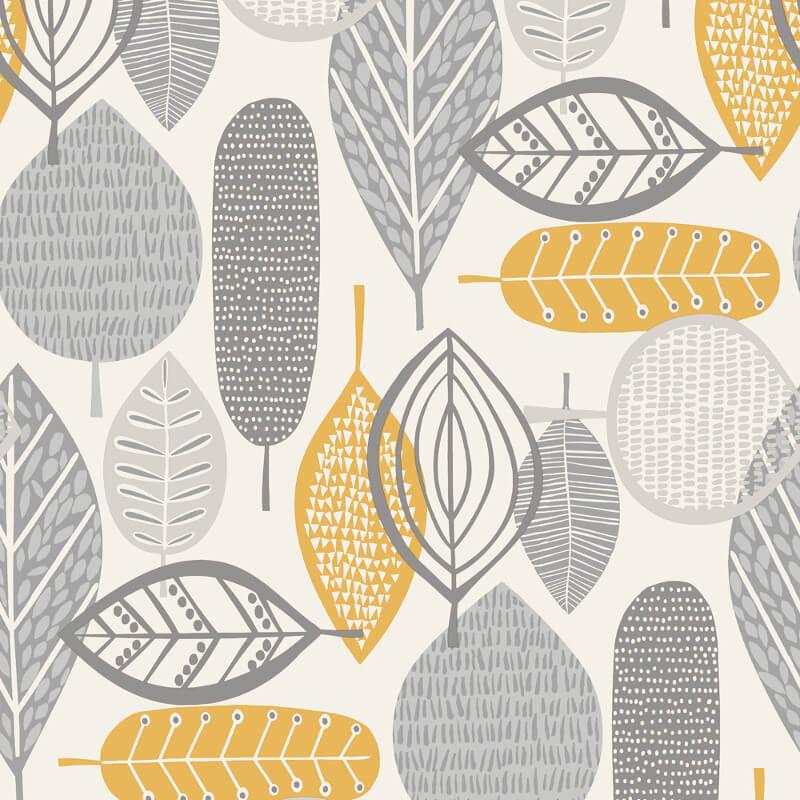 Arthouse Opera Malmo Retro Leaf Wallpaper 902300 Greyyellow