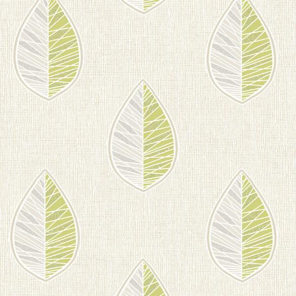 Crown Scandi Leaf Textured Wallpaper M1255 Green