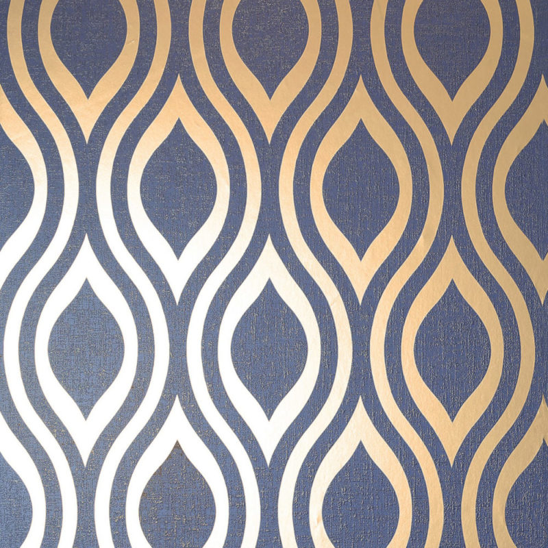 Arthouse Luxe Ogee Geometric Wallpaper 910203 Navy Gold