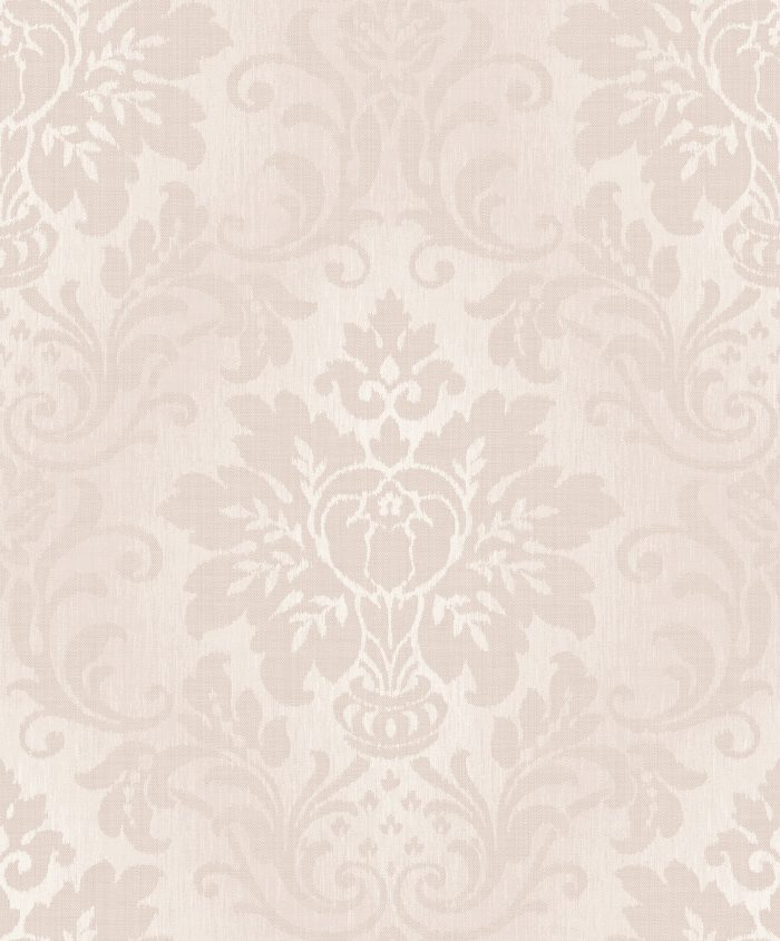 Grandeco Fabric Damask Vinyl Wallpaper A10906 Blush Pink