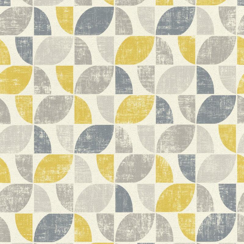 Rasch Modern Art Geometric Vinyl Wallpaper 519846 Mustard Grey
