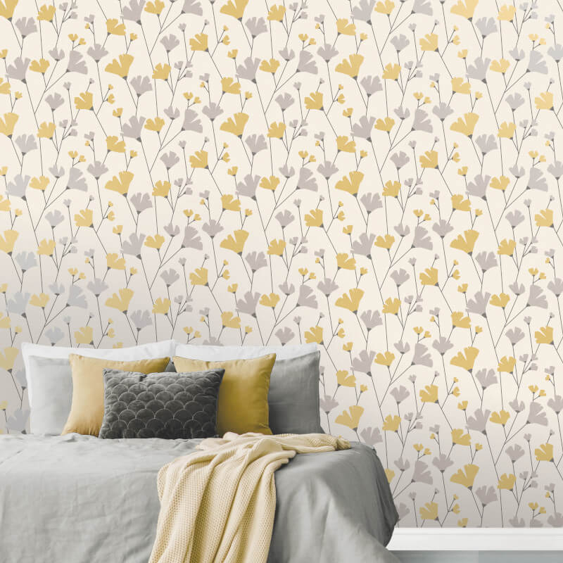 Phenomenal Crown Scandi Flower Wallpaper M1529 Yellow Grey Beutiful Home Inspiration Xortanetmahrainfo